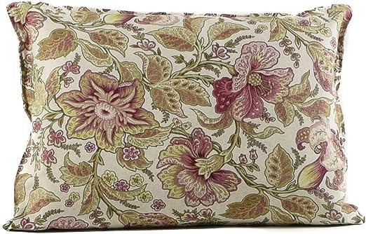 tapidecor Funda COJIN Algodon Estampado Floral Verde Malva 60X50 Relleno NO Incluido Coleccion Wild Flower: Amazon.es: Hogar