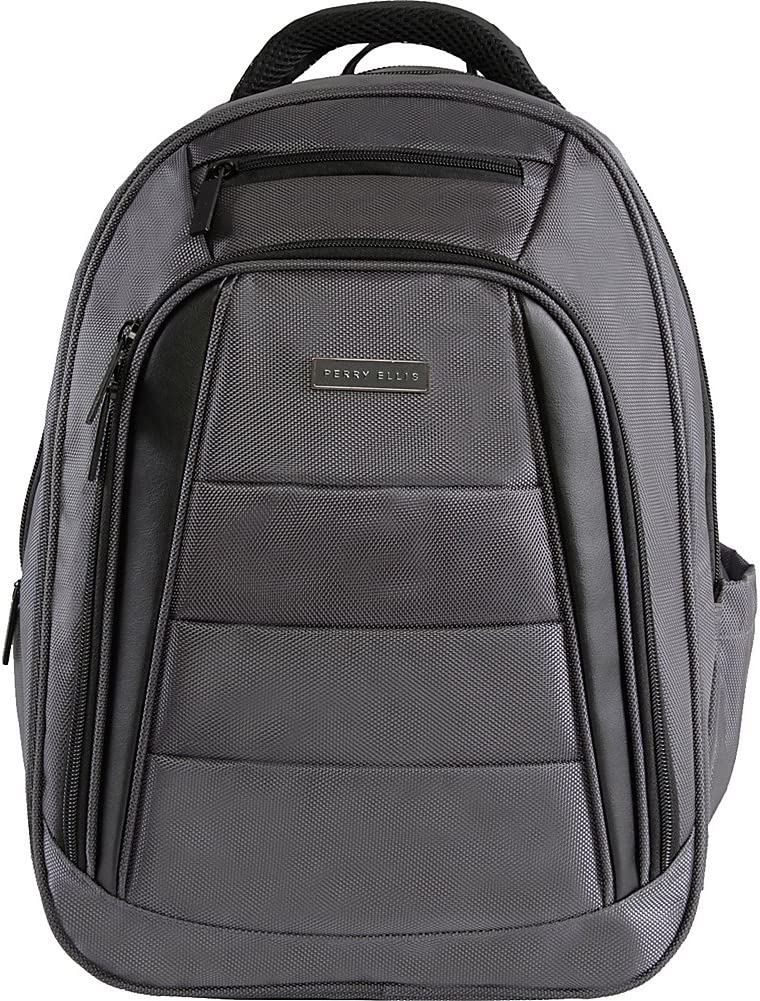 Perry Ellis Men's M325 Business Laptop Backpack with Tablet Compartment, Charcoal, One Size