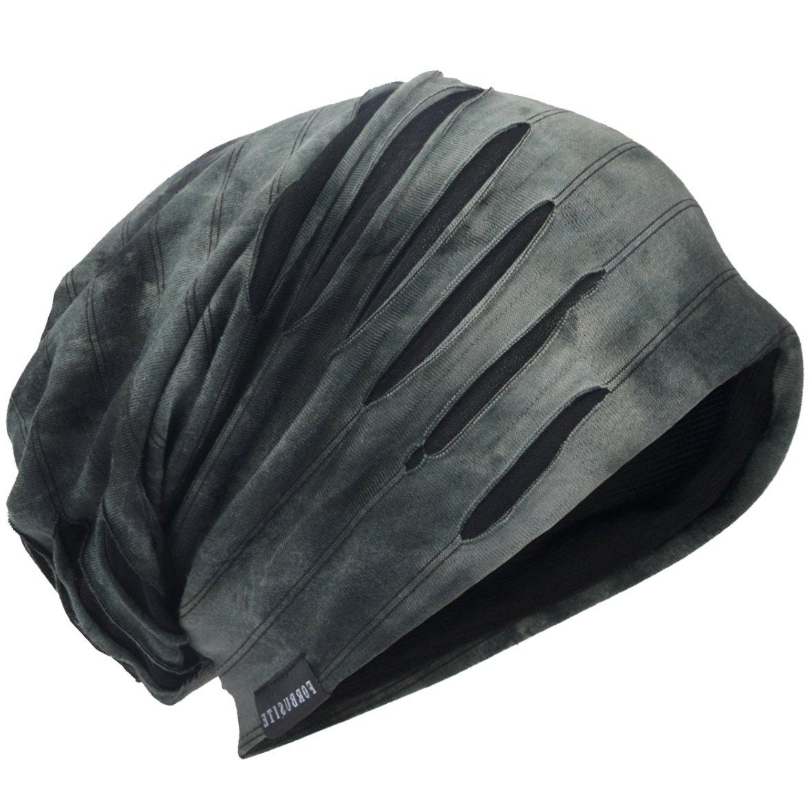 Mens Slouch Hollow Beanie Summer Skullcap B090 (Grey, Thin Cool)