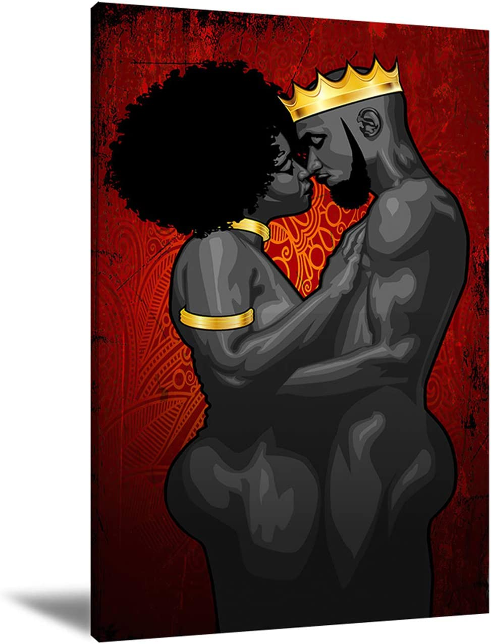 African American Red Canvas Wall Art Black King And Queen Prints Pictures Contemporary Home Decor For Living Room Bedroom 40x60cm Frameless