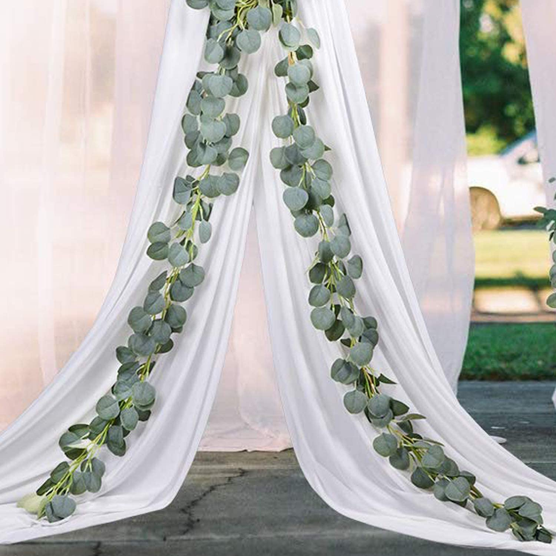 Aonewoe Artificial Garland 2 Pcs 13ft Total Silk Eucalyptus Vine Party Table Wedding Backdrop Wall Decor Home Kitchen