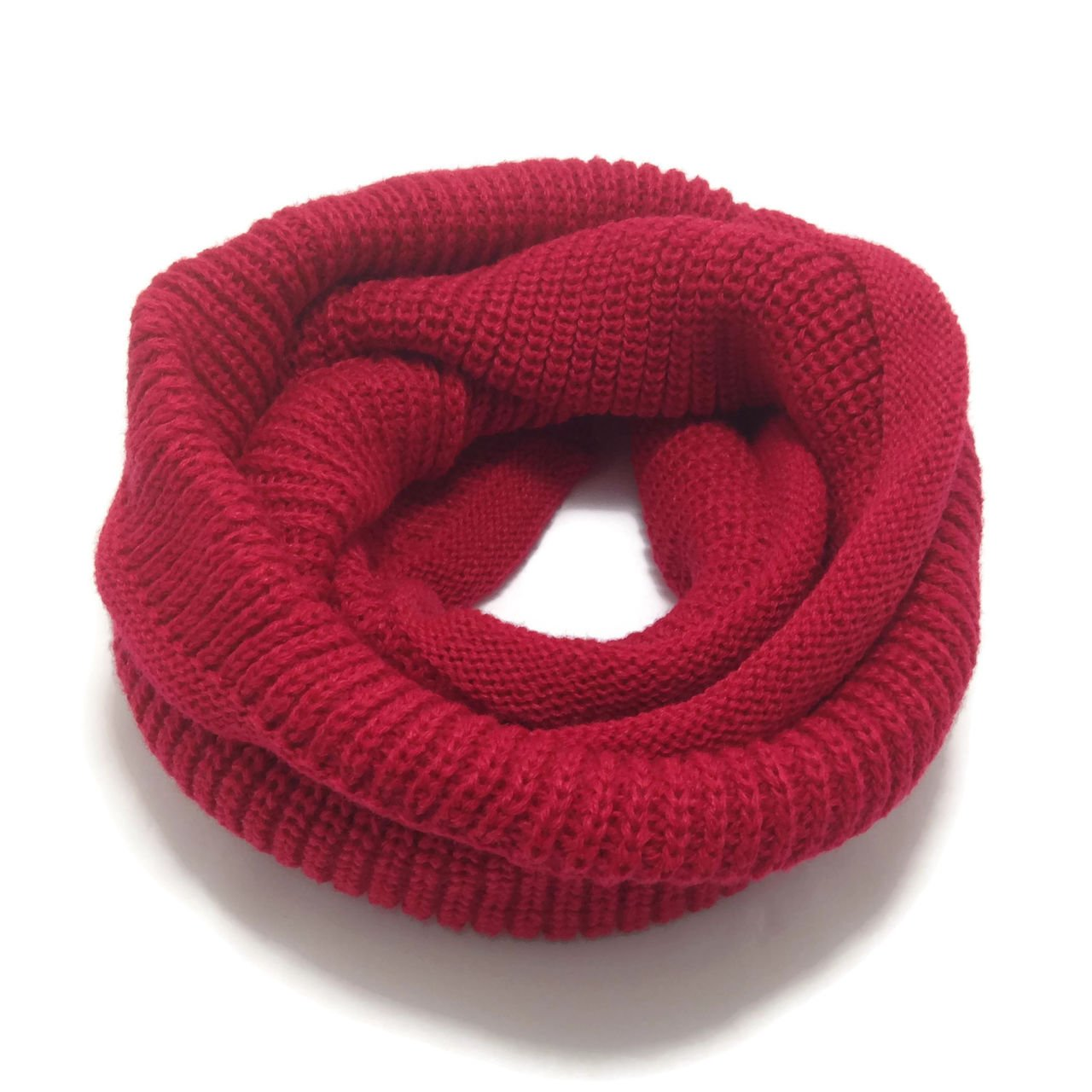 HappyTree Kids Hot Fashion Thick Knitted Winter Warm Infinity Scarf Red