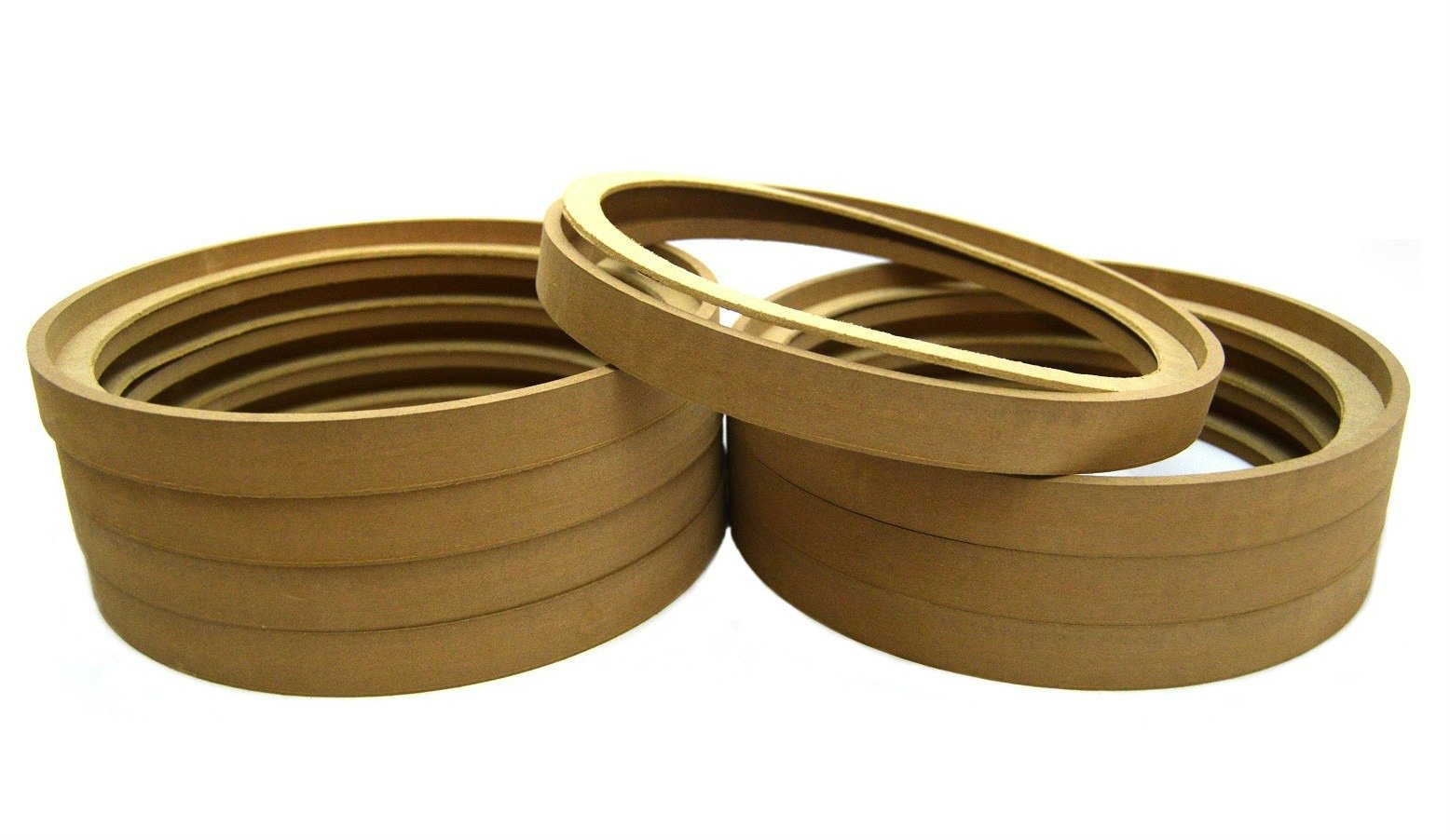 4 Pair 12'' MDF Wood Speaker Subwoofer Mounting Spacer Rings Recessed with Bezel