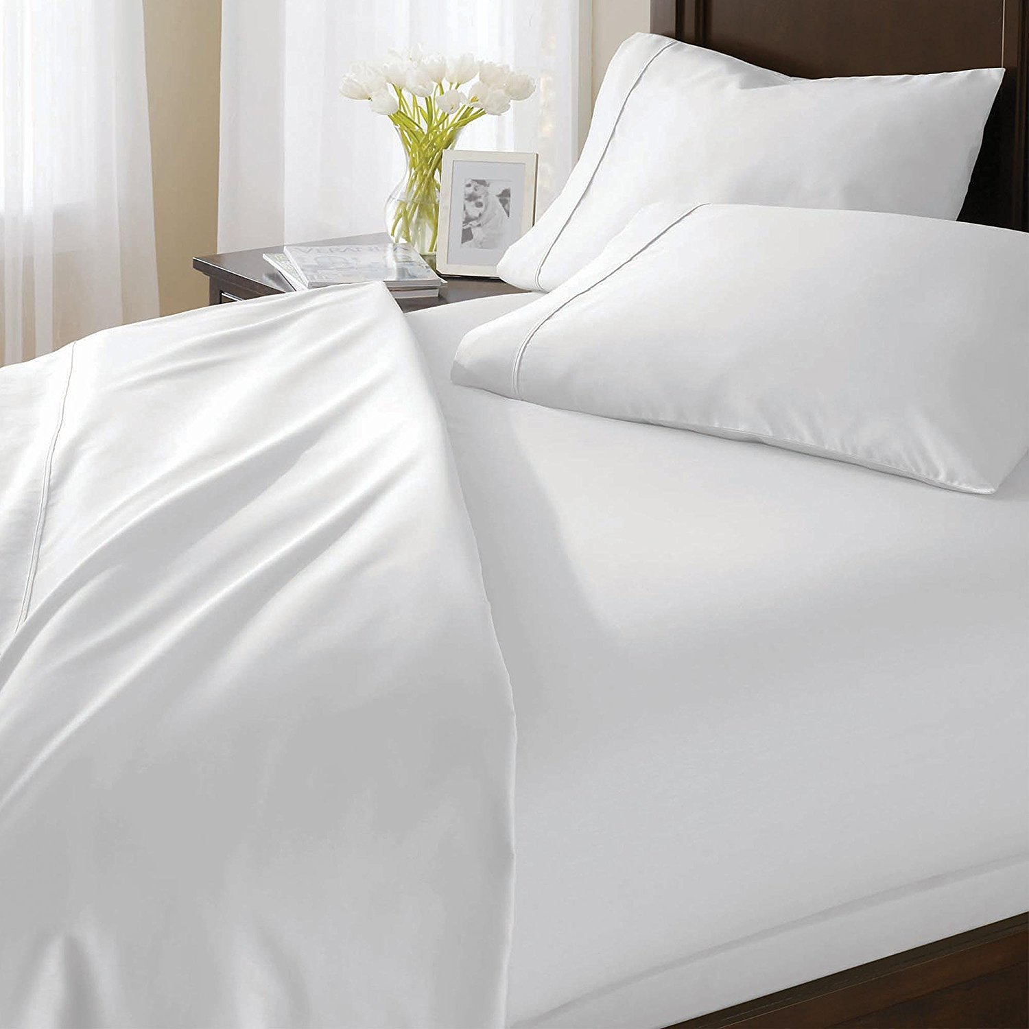 800TC 100% Cotton (Egyptian Cotton) Solid White 6 Piece Sheet Set – Complete Bedding Set Includes x1 Flat Sheet x4 Pillowcases and x1 Fitted Sheet in Pure White by King Kong - Queen Size-40 cm Deep