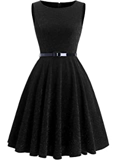 Dressystar Women Glitter Vintage 1950s Rockabilly Cocktail Party Dresses A Line with Belt