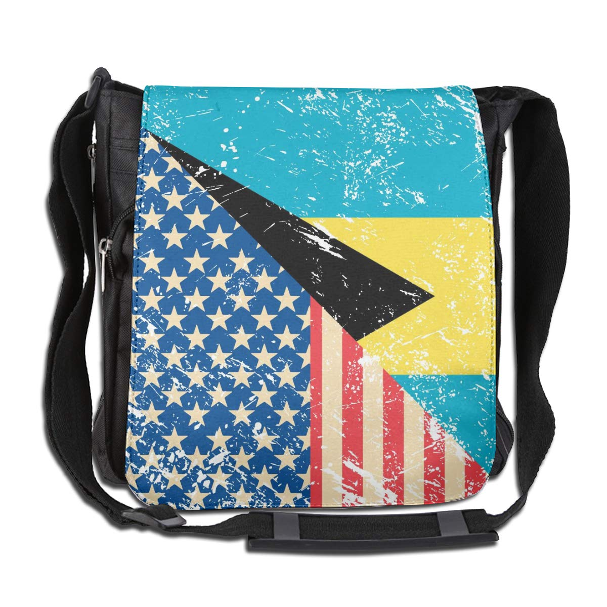 Unisex Classic Satchel Messenger Bags American And Bahamas Retro Flag Crossbody Shoulder Bag Side Bags For School//Work//Trips