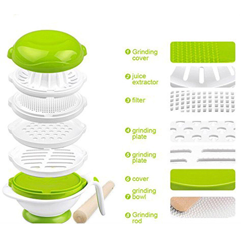 SKK BABY 8-Piece Homemade Mash Food Processor Set BPA Free White