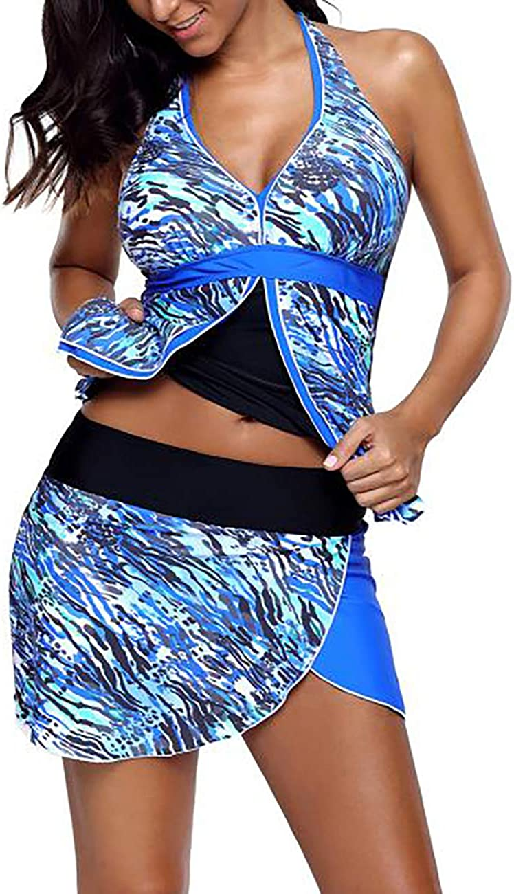 Bsubseach Womens Two Piece Swimsuit Colorblock Bandeau Tankini Top and Skort Set