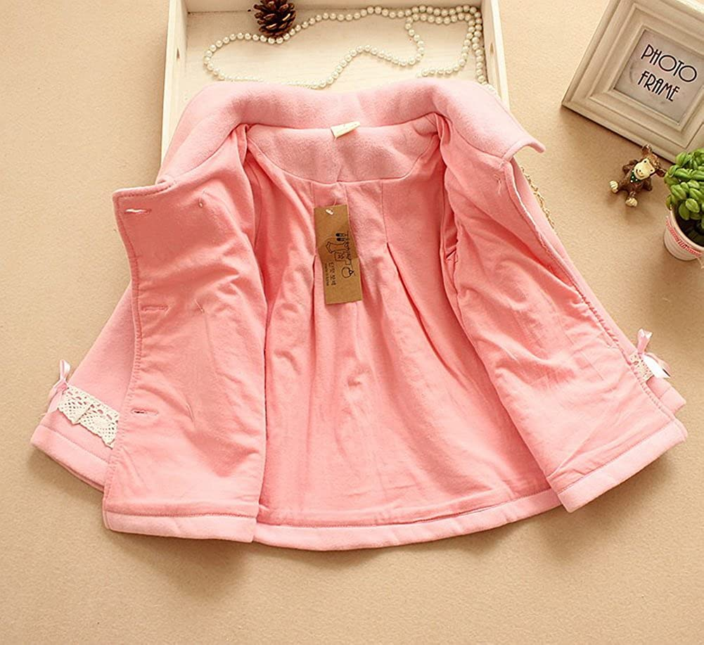 5-6 Yrs Pink Winter Coat for Girls Lace Peacoat