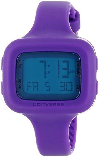 Converse Understatement - Reloj digital de mujer de cuarzo con correa de silicona lila (alarma, cronómetro) - sumergible a 30 metros: Amazon.es: Relojes