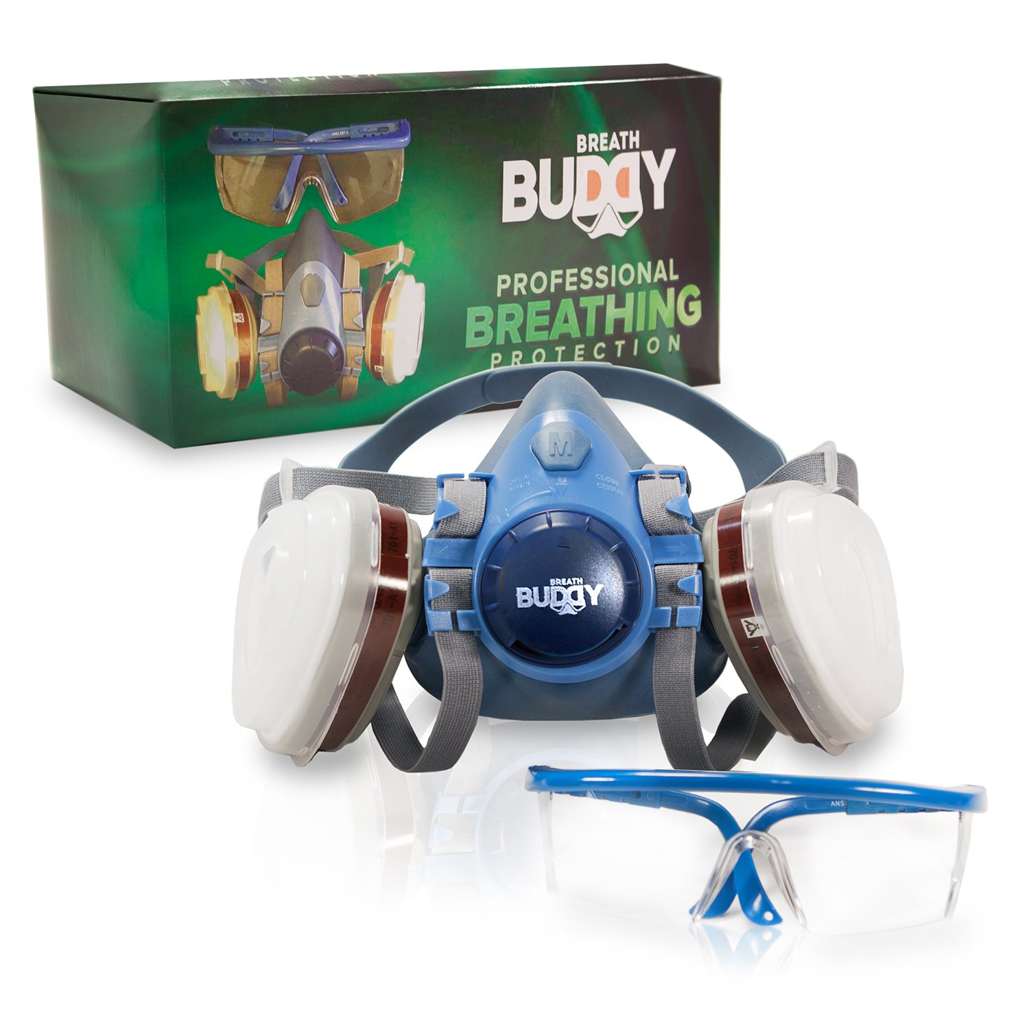 Breath Buddy Respirator Mask (Plus Safety Glasses) | Reusable Professional Breathing Protection Against Dust, Particle, Woodworking and Organic Vapors & Fumes | Perfect For Painters and DIY Projects by Breath Buddy