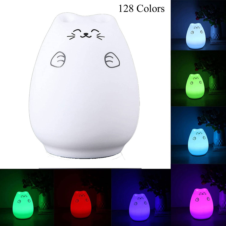 HUGGY LED multicolore rechargeable cromoterapia lumi/ère nuit enfants chat Smiley