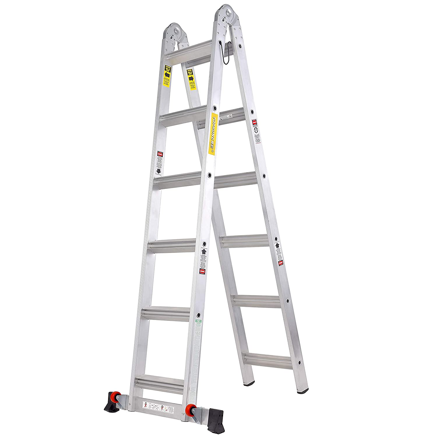Toprung 12ft 2in1 Aluminum Extension Ladder Multi Purpose Step Ladder With Bulit In Wheels 300lbs Duty Rating Amazon In Home Improvement