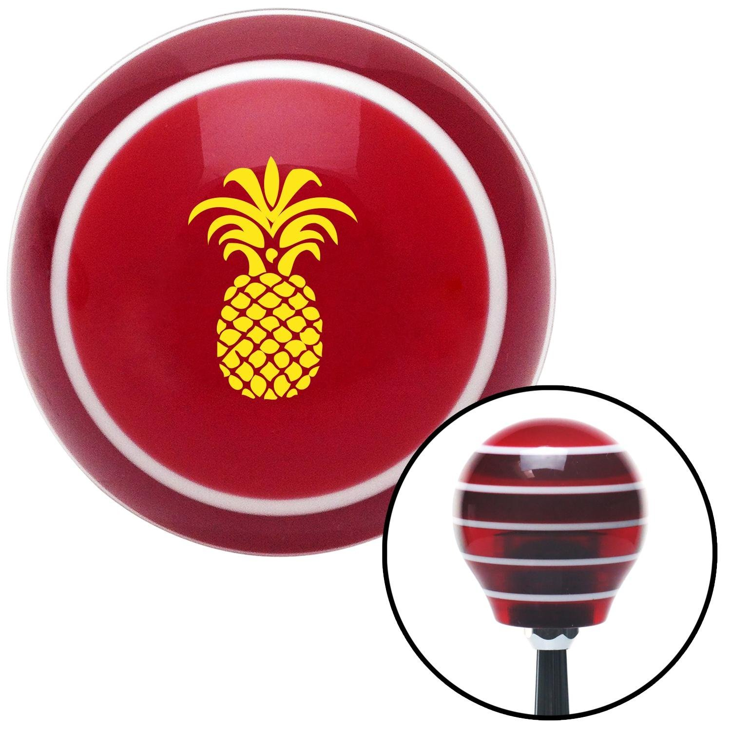 American Shifter 113066 Red Stripe Shift Knob with M16 x 1.5 Insert Yellow Pineapple