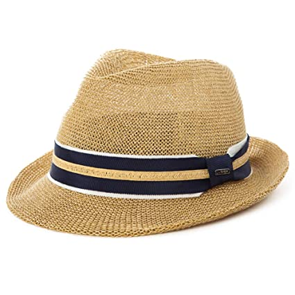 f57c2e55daa Mens Straw Panama Fedora Packable Sun Summer Beach Hat Trilby for Women  Beige