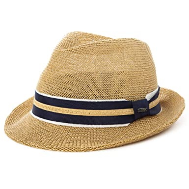 28a0d1bd9da Amazon.com  Mens Packable Straw Fedora Trilby Panama Sun Summer Beach Hat  Cuban Women 56-60cm  Clothing
