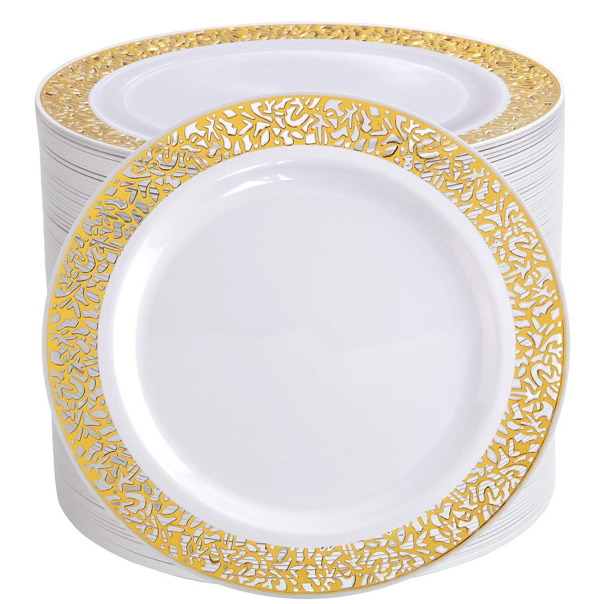 I00000 102 Pieces Gold Lunch Plates, 9'' Plastic Dinner Plates with Lace Design, Disposable Gold Dinner Plates by I00000