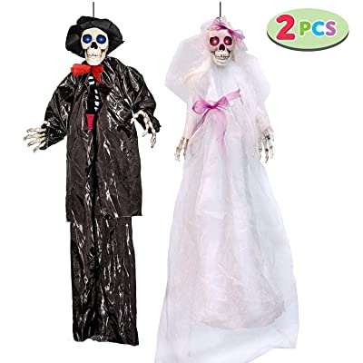 """JOYIN Hanging Skeleton Ghost Bride(42.5"""") and Groom(35.5"""") Wedding Couple, Day of The Dead and Halloween Prop for Skull Decorations: Toys & Games"""