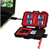 TedGem Memory Card Reader & Case, 20 Slots Card Holder Case USB/Micro USB/USB-C Hub Anti-Shock Water-Resistant 2 in 1 Storage Card Reader & Case for OTG Android Smartphone & Computers