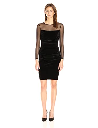 Calvin Klein Women's Side Ruched Velvet Dress with Illusion Sleeves and Yoke, Black, 2