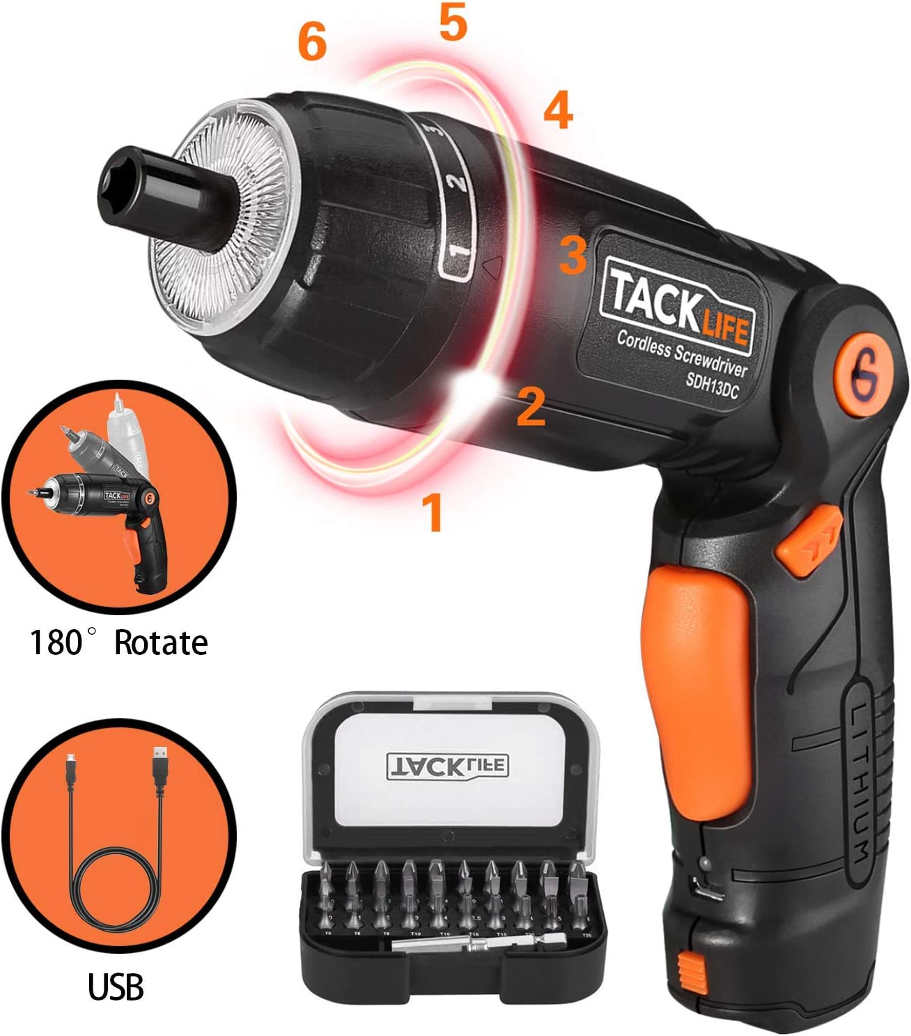 TACKLIFE Cordless Screwdriver, 3.6V 2.0Ah Electric Screwdriver Rechargeable, Adjustable 3 Position Handle, 31pcs Screwdriver Bits, 6 Torque Setting, 1 N.m to 4 N.m, Front&Rear Light, SDH13DC