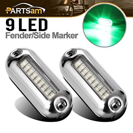 Partsam 3 1 2 Inch Green Led Underwater Boat Lighting Clear Lens Stainless Steel Trim Ring Totally Waterproof Green Led Pontoon Marine Boat Transom