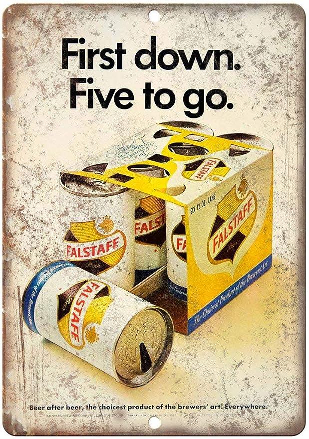 aoeiu Falstaff Six Pack Beer Cartel de Metal Decoración de la Pared Pintura nostálgica de Hierro Placa Retro Cartel de Chapa para Lounge Cafe Shop Bar: Amazon.es: Hogar