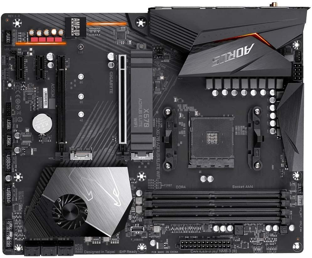 AMD Ryzen 3000//X570//ATX//PCIe4.0//DDR4//Intel Dual Band 802.11AC WIFI//Front USB Type-C//RGB Fusion 2.0//M.2 Thermal Guard//Gaming Motherboard Gigabyte X570 AORUS Elite Wifi