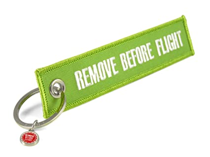 Llavero Remove Before Flight, verde, . 13,5 x 3 cm