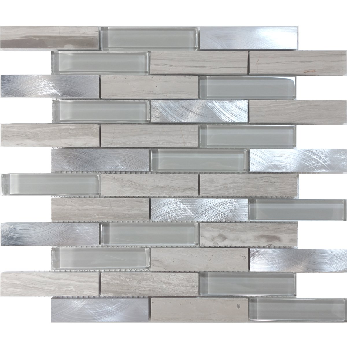 Modket TDH217MO White Oak Gray Marble Stone Blended Metallic Aluminum and Glass Mosaic Tile Backsplash