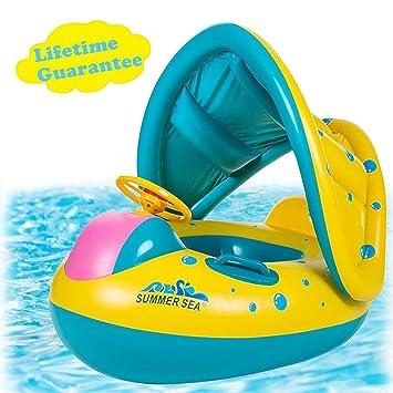 FLBTY Flotadores para Piscina para Bebés Flotadores para Piscina para Bebés con Toldos: Amazon.es: Deportes y aire libre