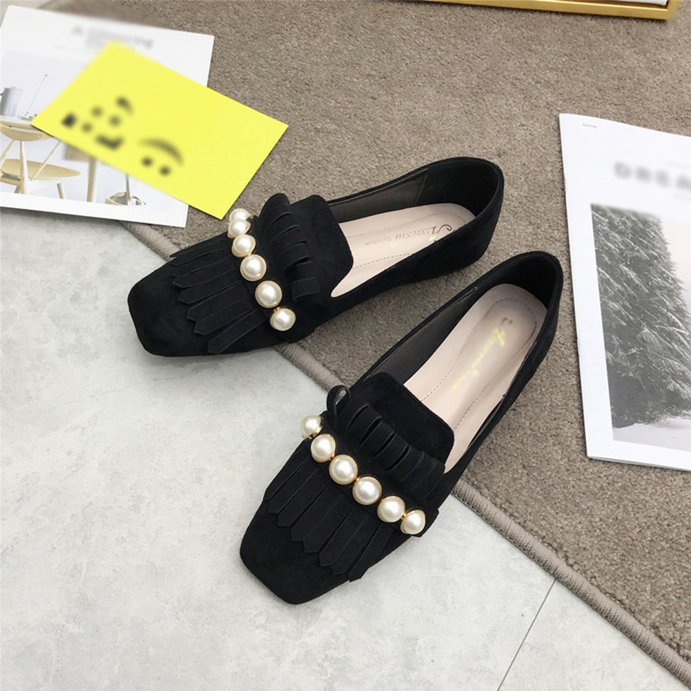 Tassel Fashion Slip On Low-Heel Square Toe Suede Casual Penny Flat T-JULY Loafers Shoes for Women