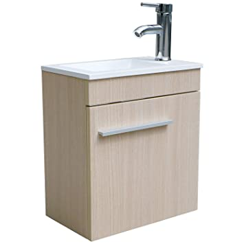 Bathjoy Single Bathroom Vanity Wall Mounted Wood Cabinet Combo Top