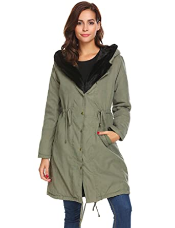sholdnut Womens Cotton Padded Faux Fur Trim Hood Long Drawstring Parka Jacket