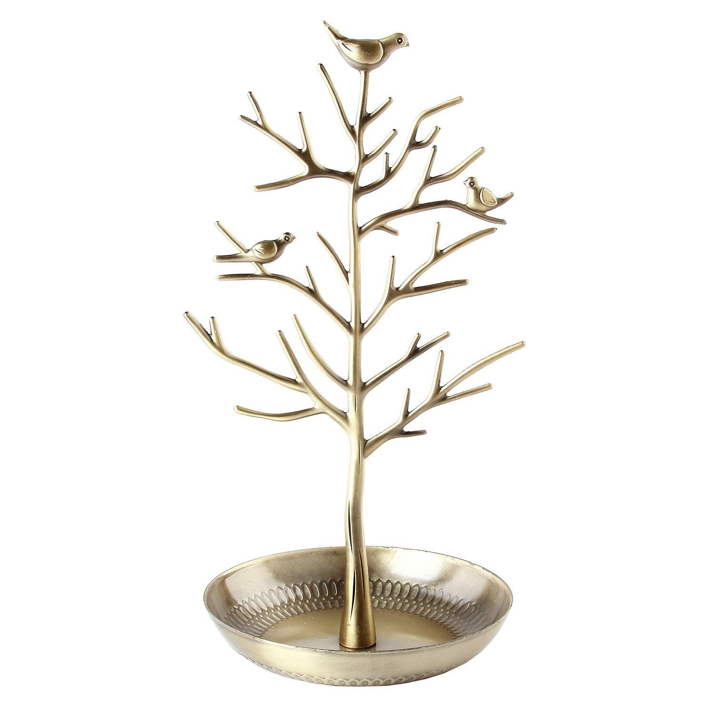 Discoball – display/stand/porta gioielli – argento antico bronzo, albero di uccelli per orecchini, collane, bracciali, gioielli; porta gioielli, organizer, torre. torre. Antibrass 57941
