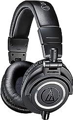 Audio-Technica ATH-M50X Professional Studio Monitor Headphones, Black, Professional Grade, Critically Acclaimed,