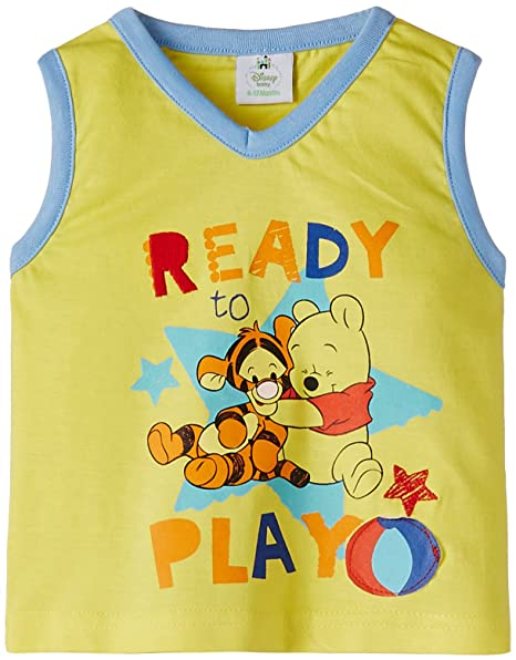 161ea3e0423b Disney Winnie The Pooh Baby Boys  T-Shirt (BLJ710 Yellow 18-24 Months)   Amazon.in  Clothing   Accessories