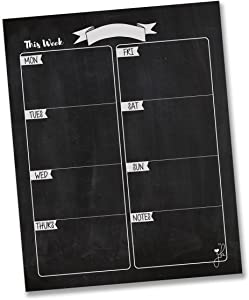 """Jennakate Magnetic Weekly Chart Chalkboard Design Calendar - Task Manager to Do List - Weekly Dry Erase Board Planner- 11""""x 14"""""""