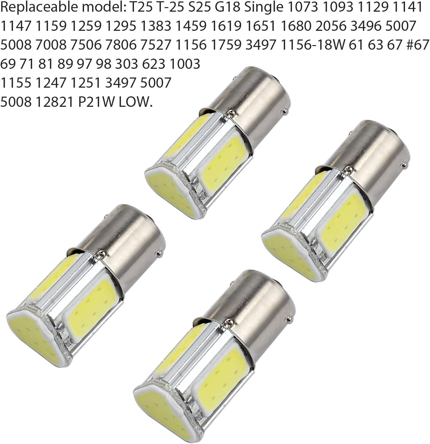 Justech 4 Pezzi Lampadine di Ricambio per Indicatori di Direzione Auto Lampadine per Retromarcia Retroilluminate 1156 BA15S 382 P21W 12V 4 COB LED Lampadine Bulb Bianco Freddo