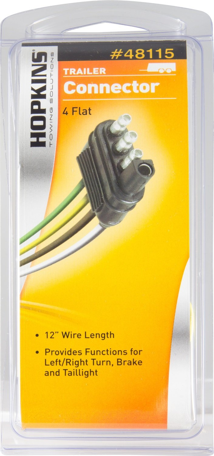 Hopkins 48115 4 Wire Flat Trailer End Connector Automotive Wesbar 6 Pin Wiring Harness