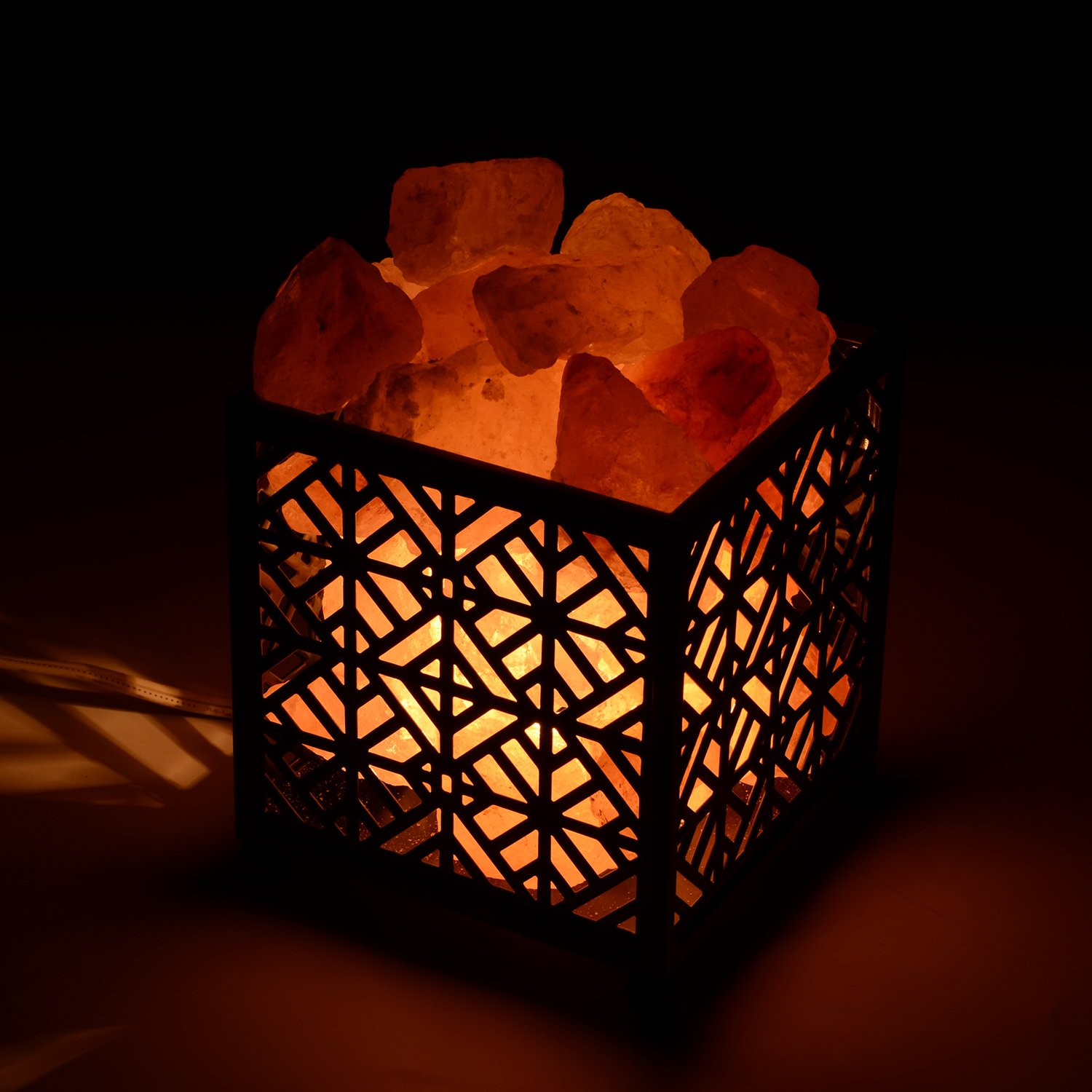 Himalayan Salt Lamp,CREATIVE DESIGN Salt Lamp Natural Salt Rock Lamp with Metal Basket for Air Purifying, Included UL Cord, On/Off Switch and Bulbs. (5''Height, 4 – 4.8 lbs)