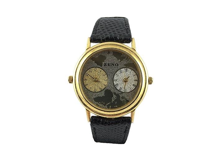 Reloj Zeno, doble huso horario, tarjeta, caja chapado en oro, arte,