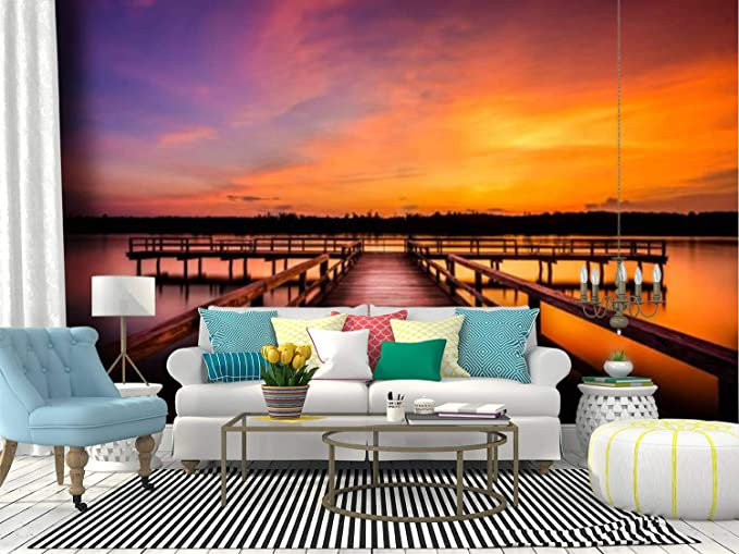 Amazon Com Self Adhesive Wallpaper Roll Paper Evening At Elvis Presley Lake Purple Colored Sunset Stock Pictures Removable Peel And Stick Wallpaper Decorative Wall Mural Posters Home Covering Interior Film Home Kitchen