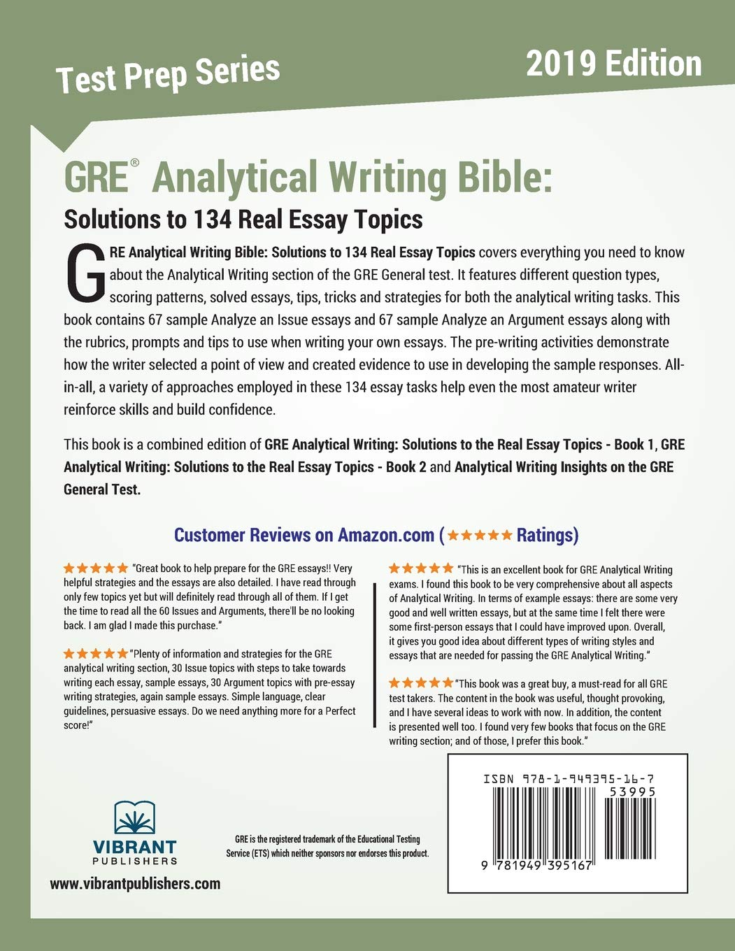 GRE Analytical Writing Bible Solutions To 134 Real Essay