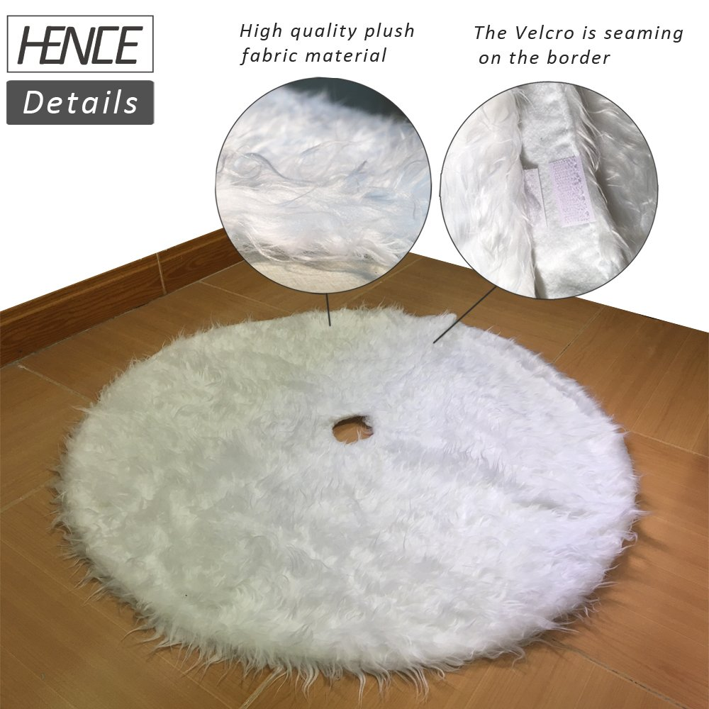 78cm//30.7 HENCE Christmas Tree Skirts Holiday Faux Fur Tree Ornaments Decoration Merry Christmas Year Party Decor Snowy White