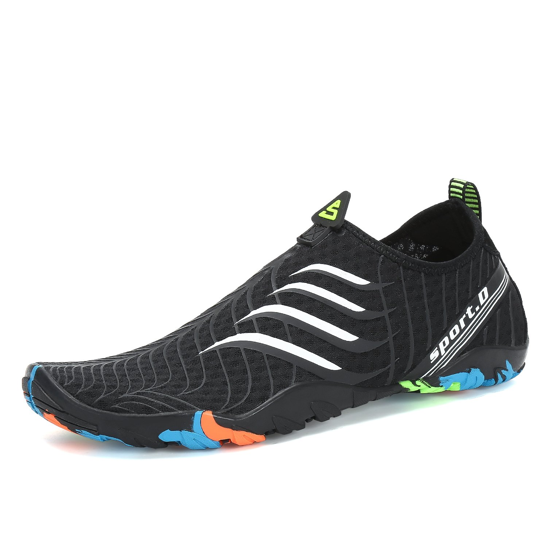 Kuuland Water Shoes Quick Dry Barefoot Aqua Socks Beach Swim Pool Surf Shoes for Swimming Diving Walking Yoga Men Women B07BS65C33 9 B(M) US/8 D(M) US|Black(white)