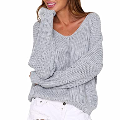 68b48229eb7e Image Unavailable. Image not available for. Color  Paixpays V Neck Knitting  T-Shirt Pullover Sweater Tops Winter Warm Lace Up Back Gray