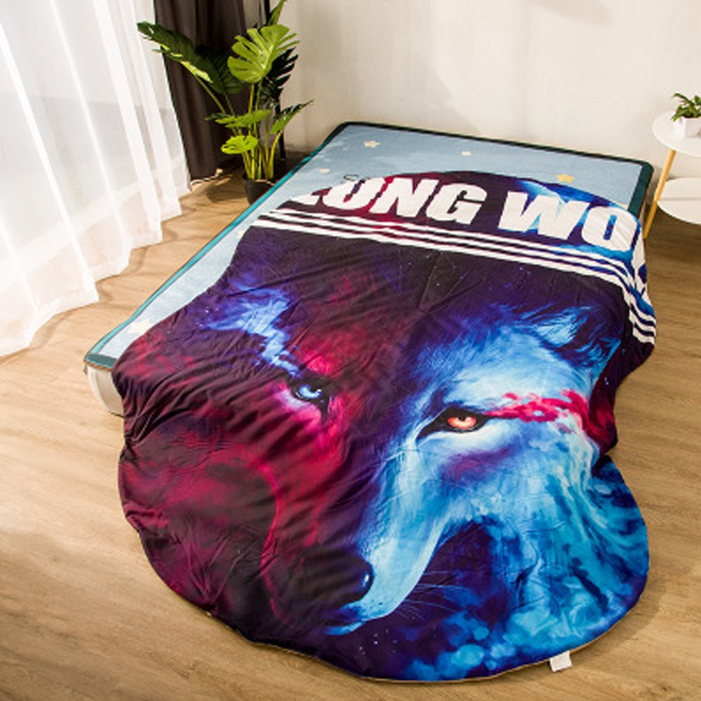 Koongso 3D Cartoon Animal Print Blanket Bedding Wolf Shaped Summer Quilt Galaxy Wolf Comforter Washable Light Quilt