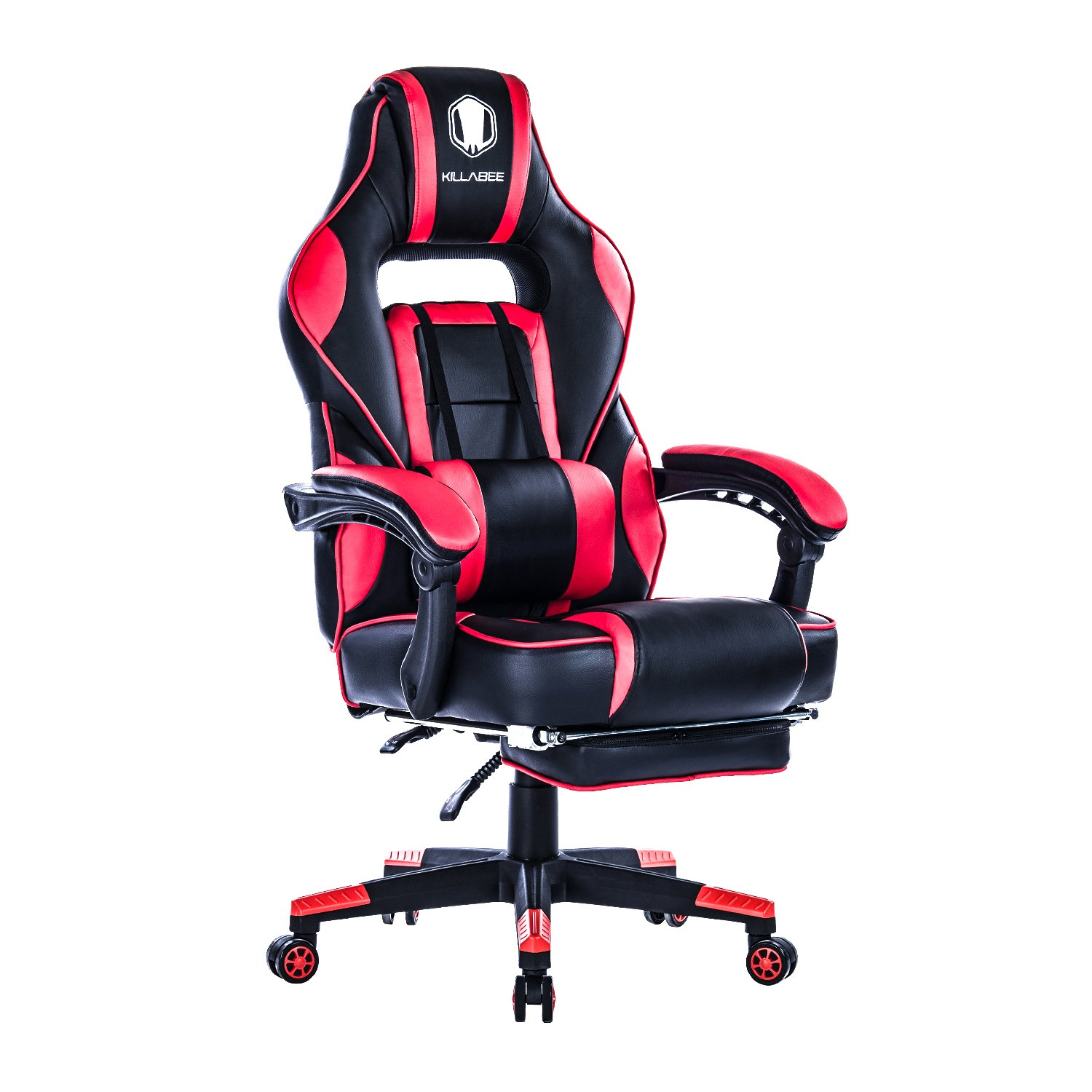 KILLABEE Reclining Racing Gaming Chair - Ergonomic High-back Office Computer Desk Chair with Retractable Footrest and Adjustable Lumbar Cushion, Red&Black