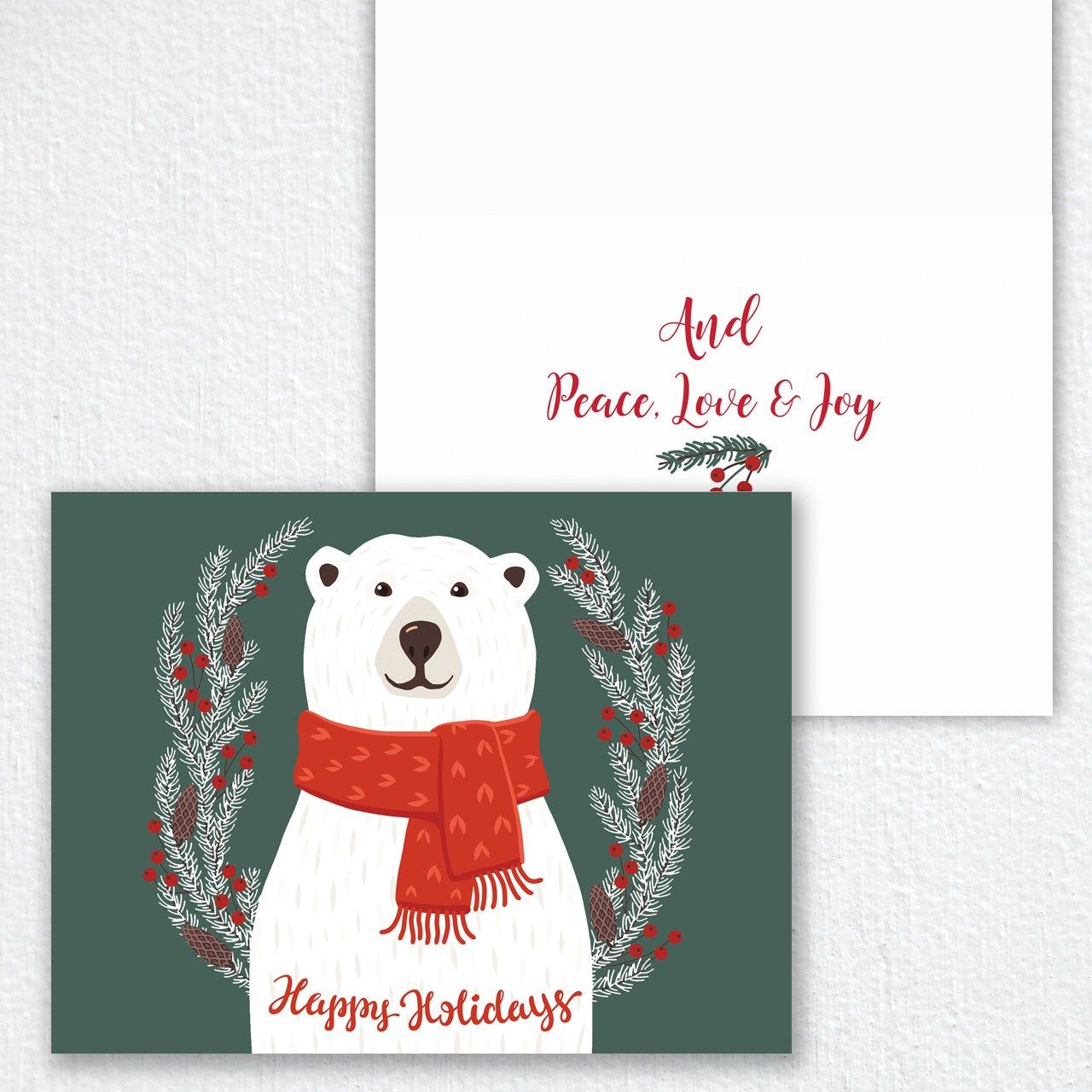 Amazon.com : Smiling Polar Bear Holiday Card Pack - Set of 25 cards ...